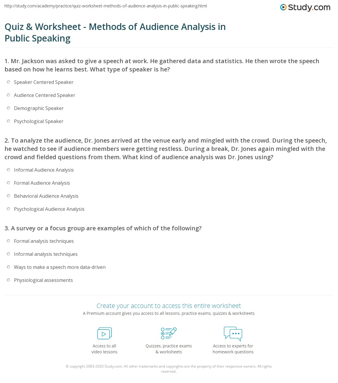 Quiz & Worksheet Methods of Au nce Analysis in Public Speaking