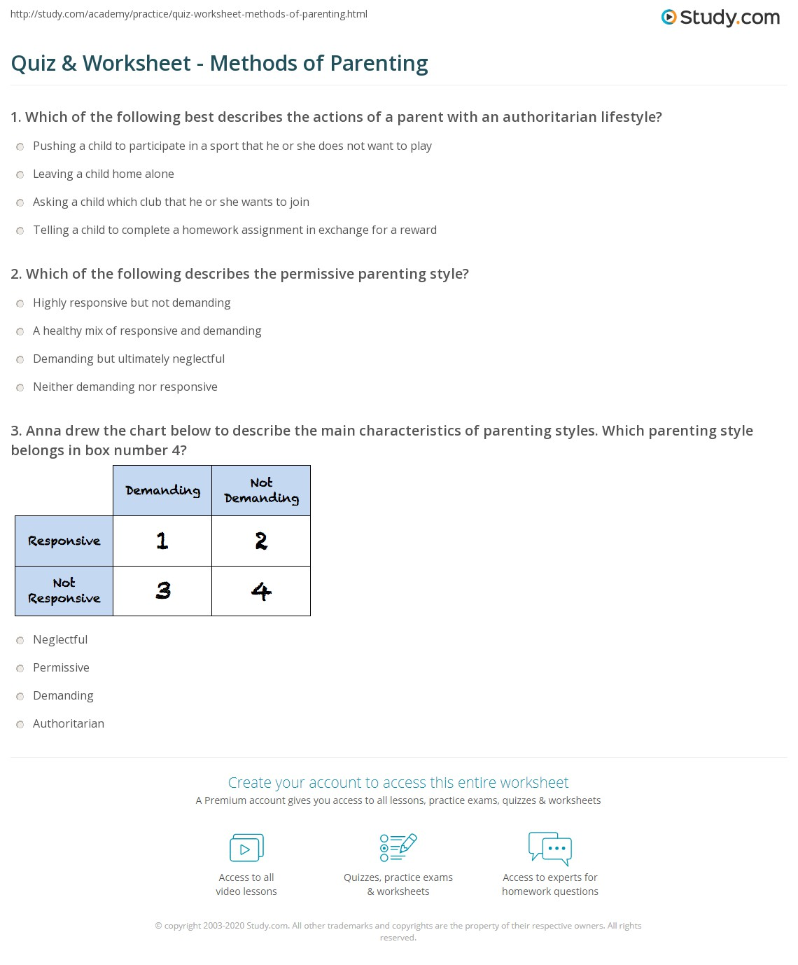 photo regarding Parenting Style Quiz Printable titled Quiz Worksheet - Strategies of Parenting