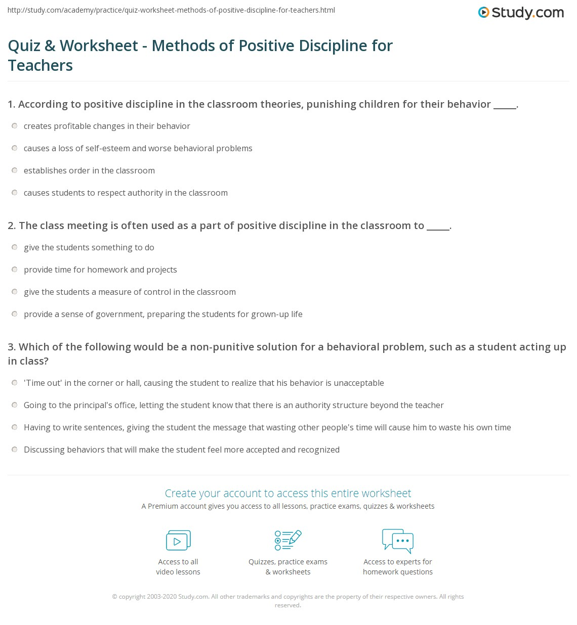 quiz worksheet methods of positive discipline for teachers  print positive discipline in the classroom techniques overview worksheet