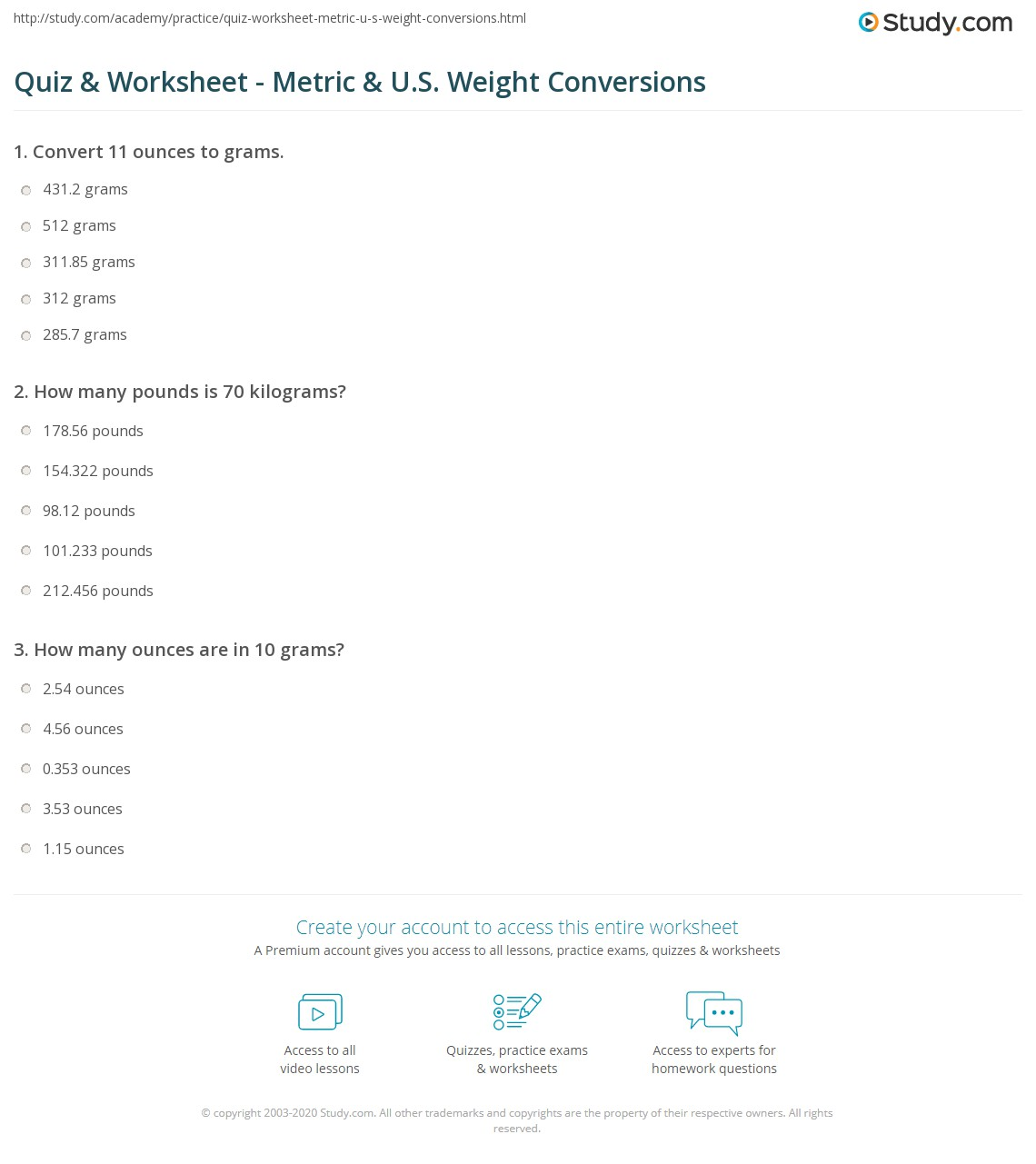 Quiz Worksheet Metric Us Weight Conversions Study