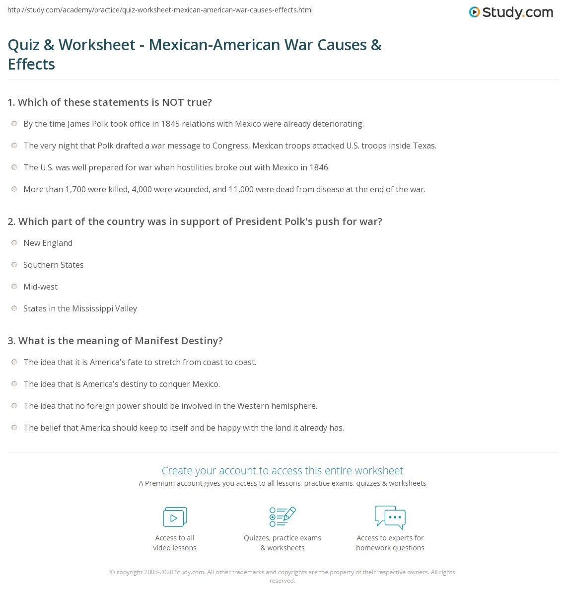 worksheet Spanish American War Worksheet quiz worksheet mexican american war causes effects study com print results worksheet
