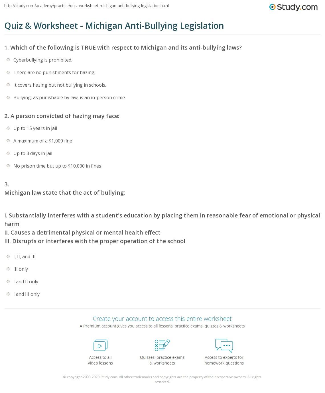 Quiz Worksheet Michigan AntiBullying Legislation – Anti Bullying Worksheets