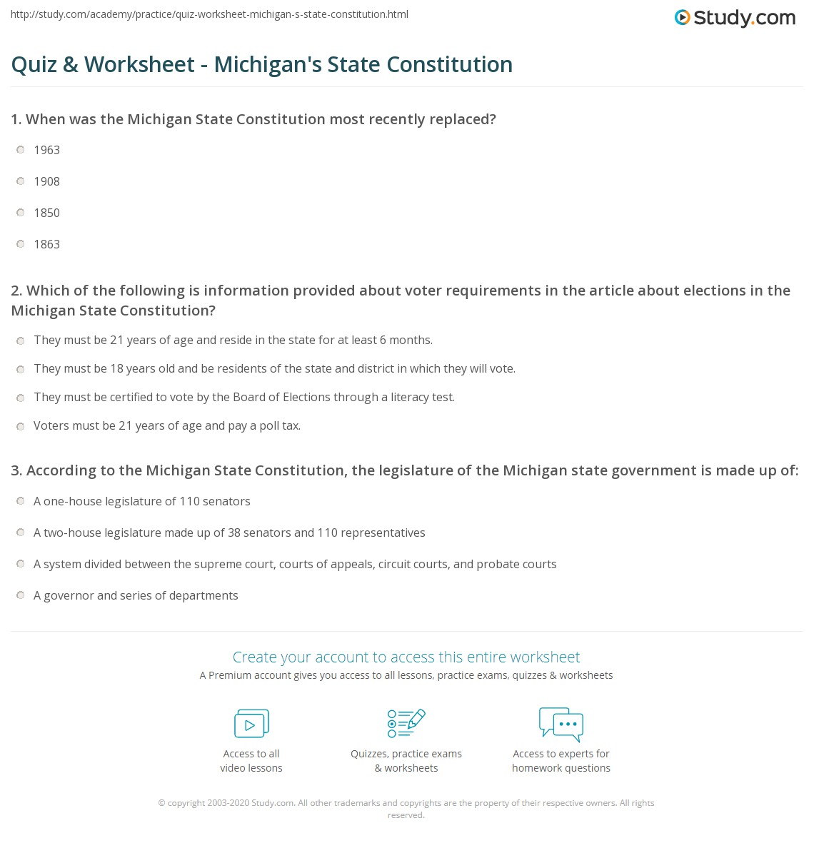 Quiz & Worksheet - Michigan's State Constitution | Study.com