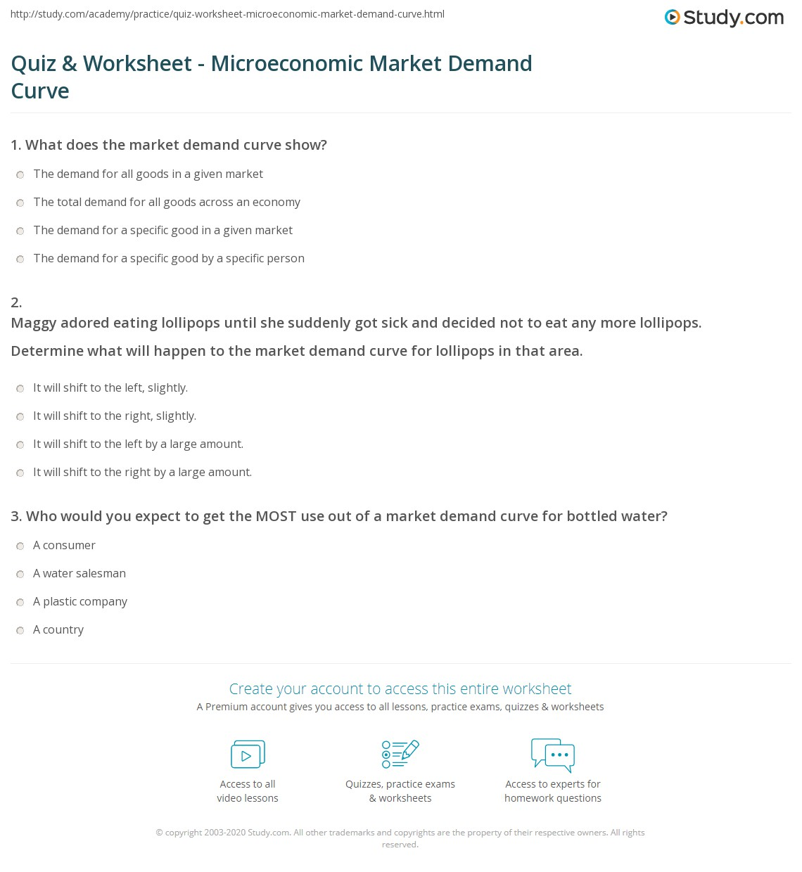 Quiz Worksheet Microeconomic Market Demand Curve – Market Math Worksheets
