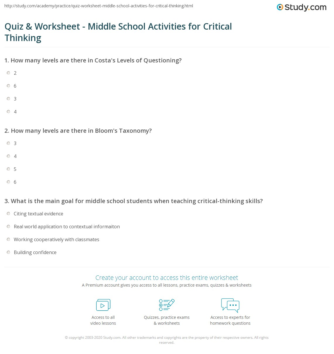 critical thinking activities for middle school math Anchor activities (or sponge funbrain – math and other games (for younger and middle level students) critical thinking and logic puzzles.