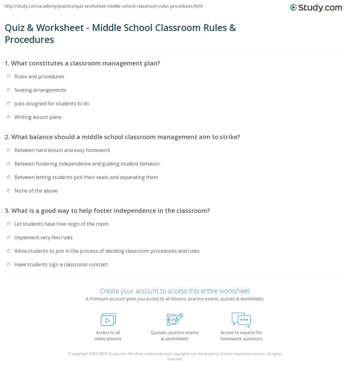 quiz worksheet middle school classroom rules procedures