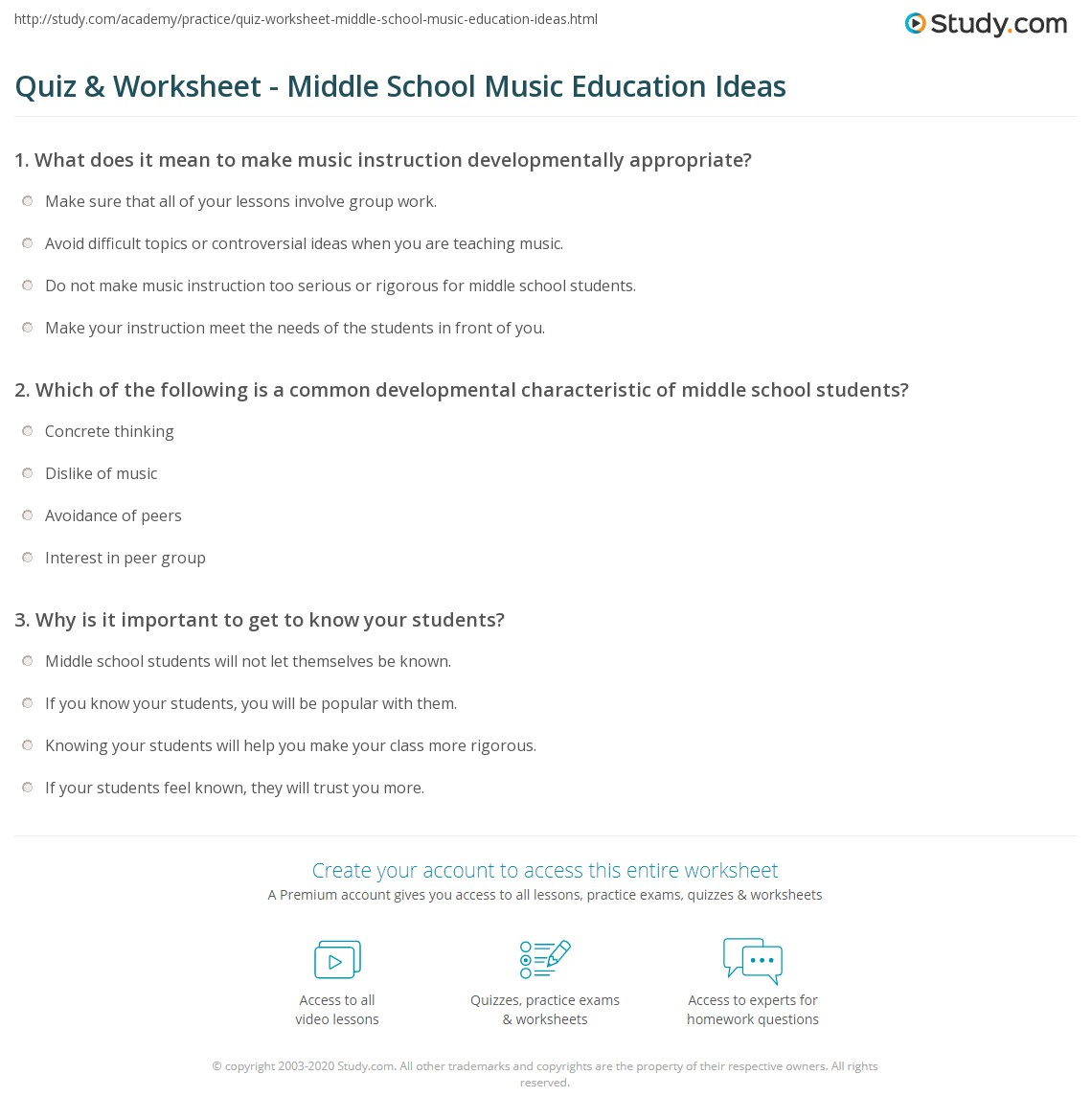 Quiz & Worksheet - Middle School Music Education Ideas  Study.com Inside Following Directions Worksheet Middle School