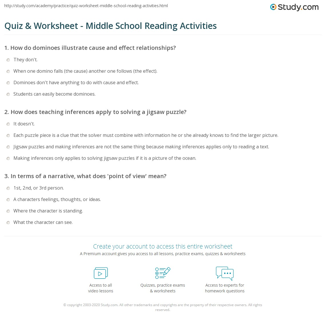 Quiz Worksheet Middle School Reading Activities – Point of View Worksheets Middle School