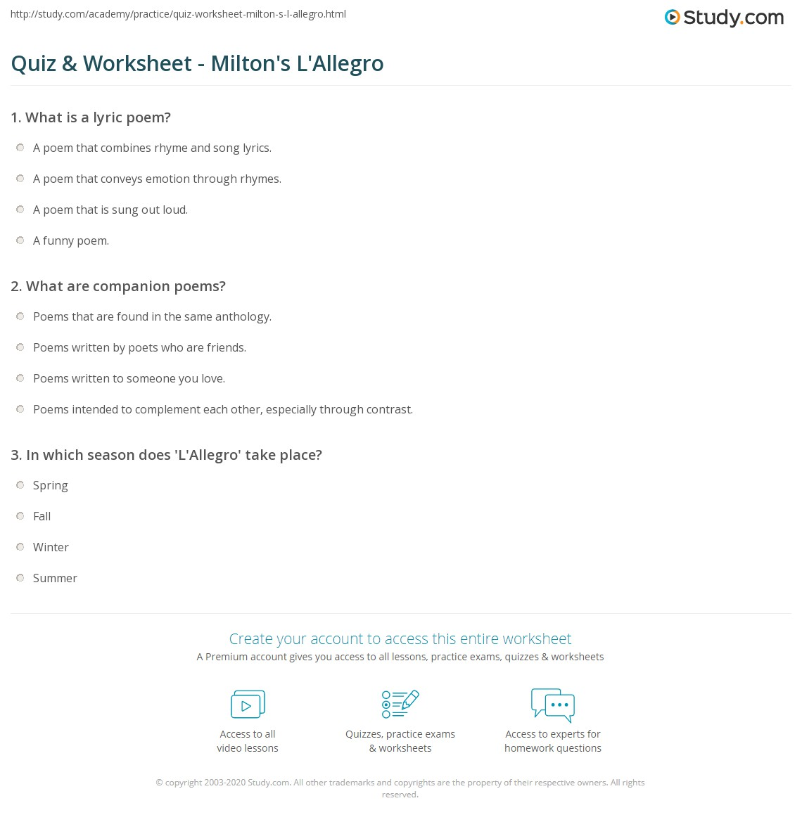 Quiz & Worksheet - Milton's L'Allegro | Study com