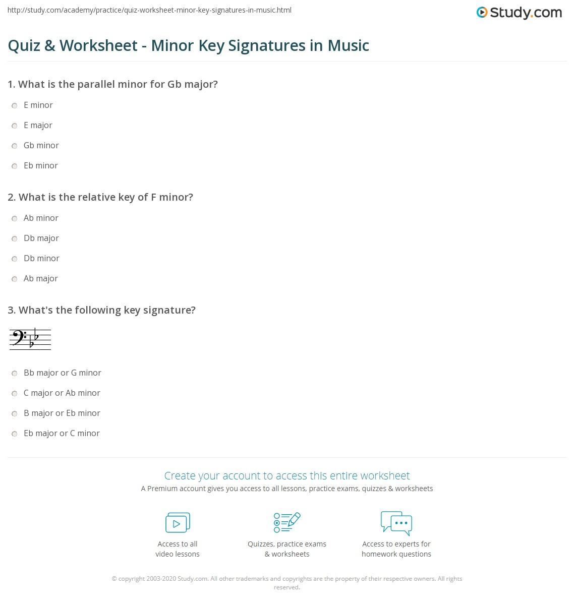 Quiz Worksheet Minor Key Signatures in Music – Key Signatures Worksheet
