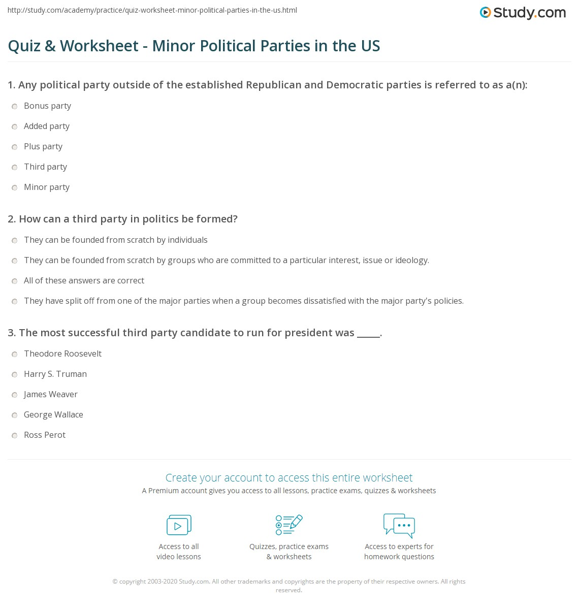 quiz & worksheet - minor political parties in the us | study