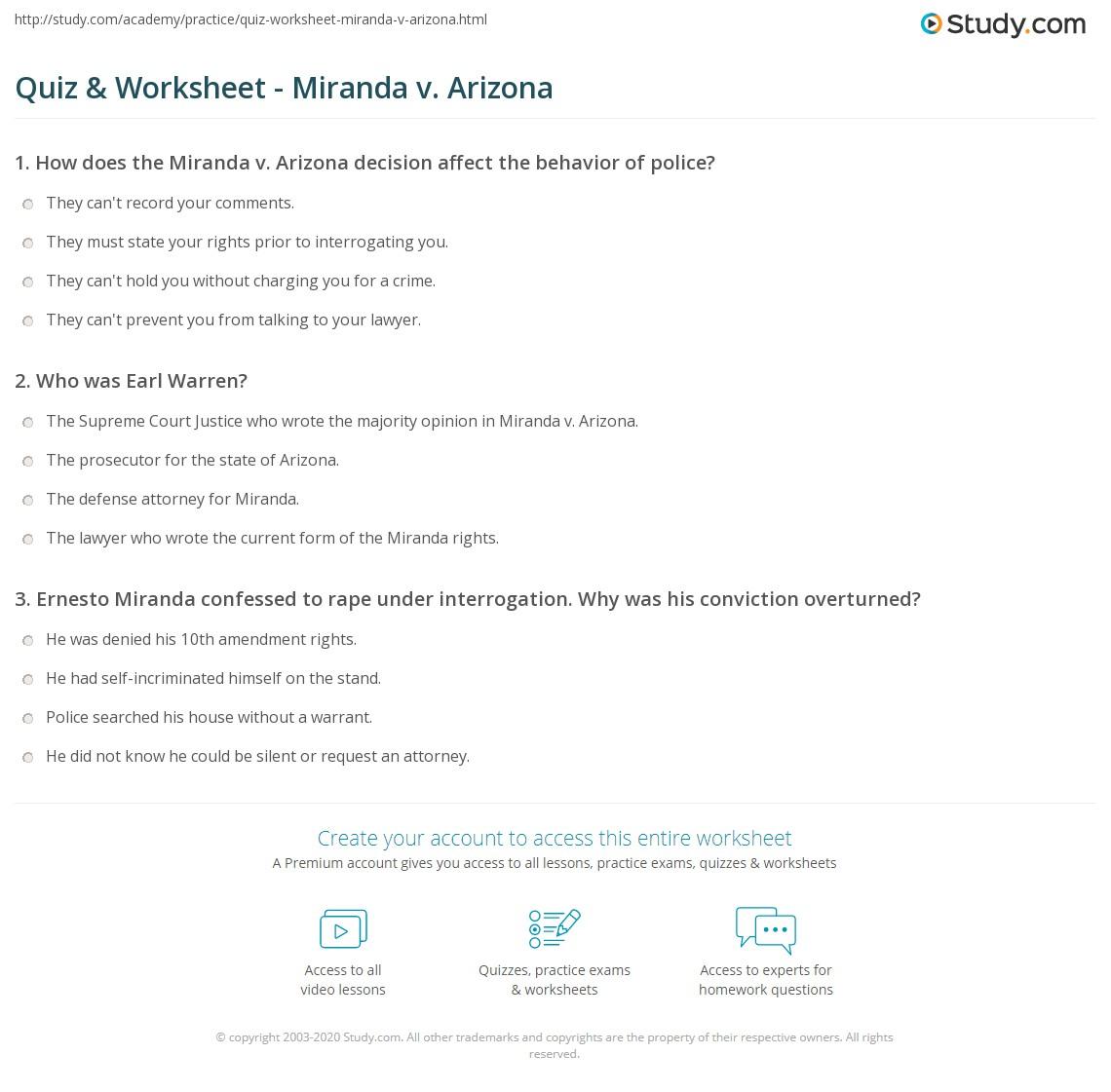 photograph relating to Miranda Warning Card Printable named Quiz Worksheet - Miranda v. Arizona