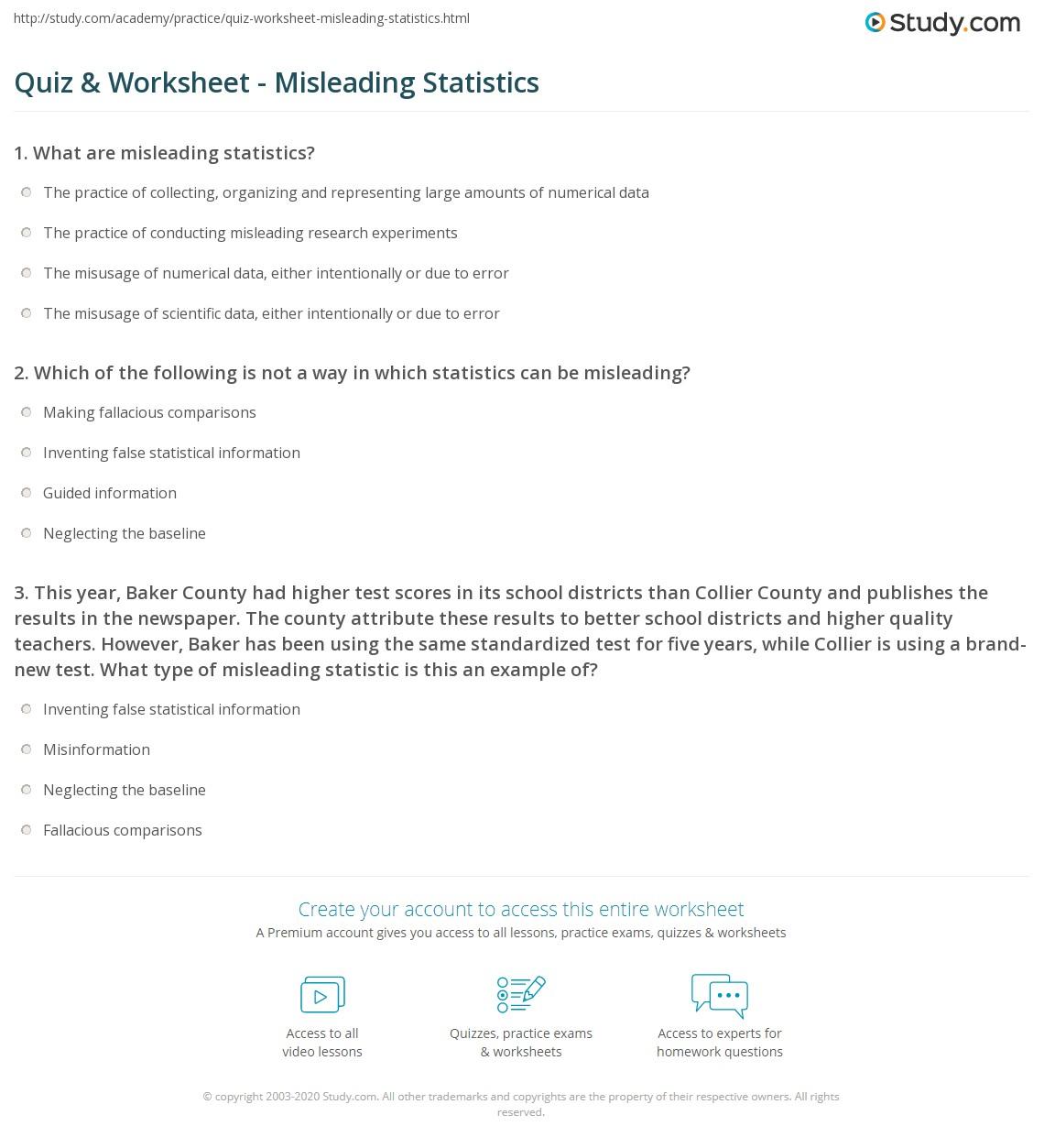 Quiz Worksheet Misleading Statistics Study