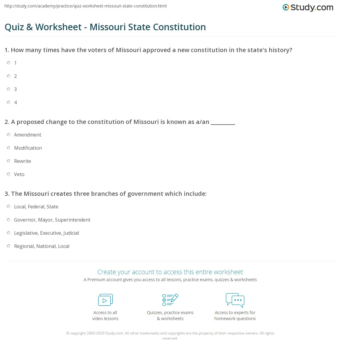 worksheet I Have Rights Worksheet quiz worksheet missouri state constitution study com print the facts history worksheet