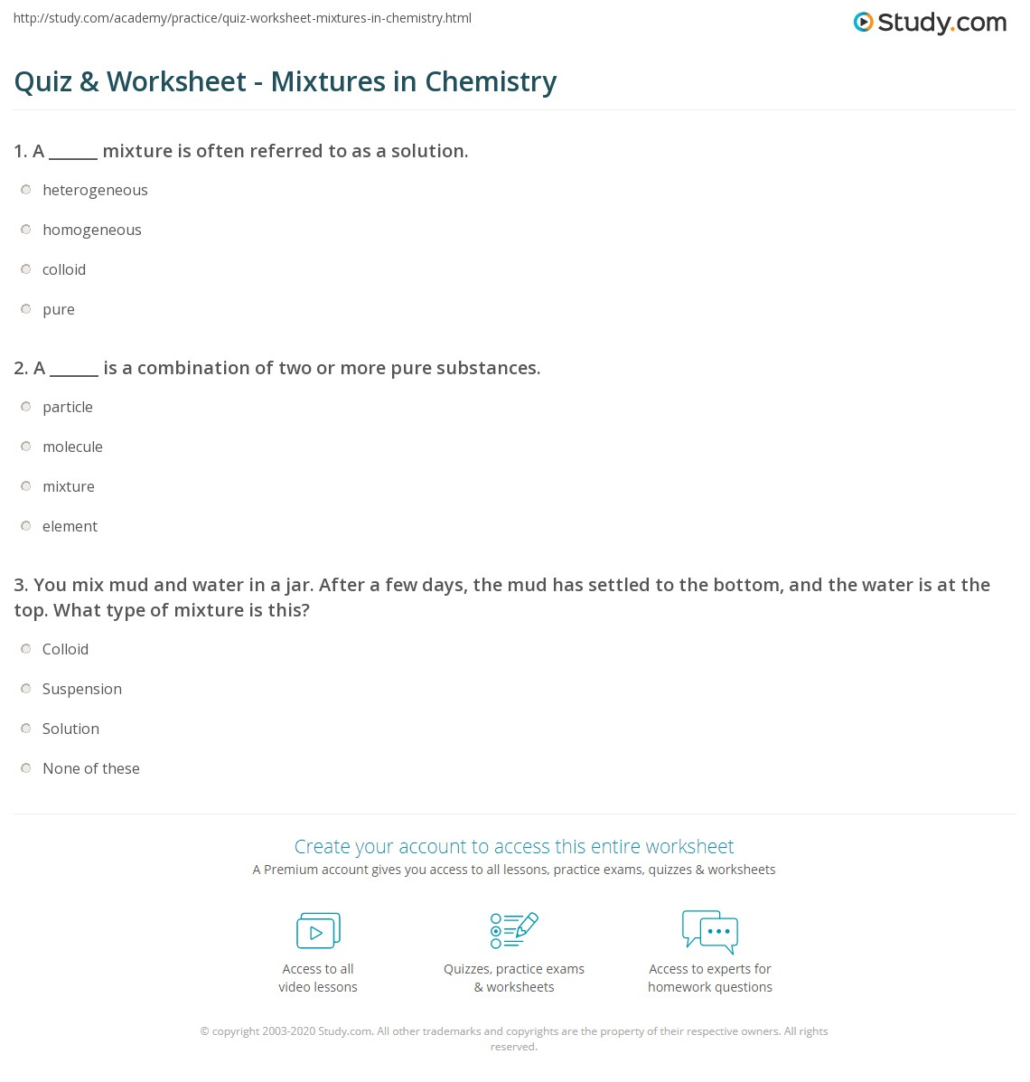Quiz Worksheet Mixtures In Chemistry Study Com