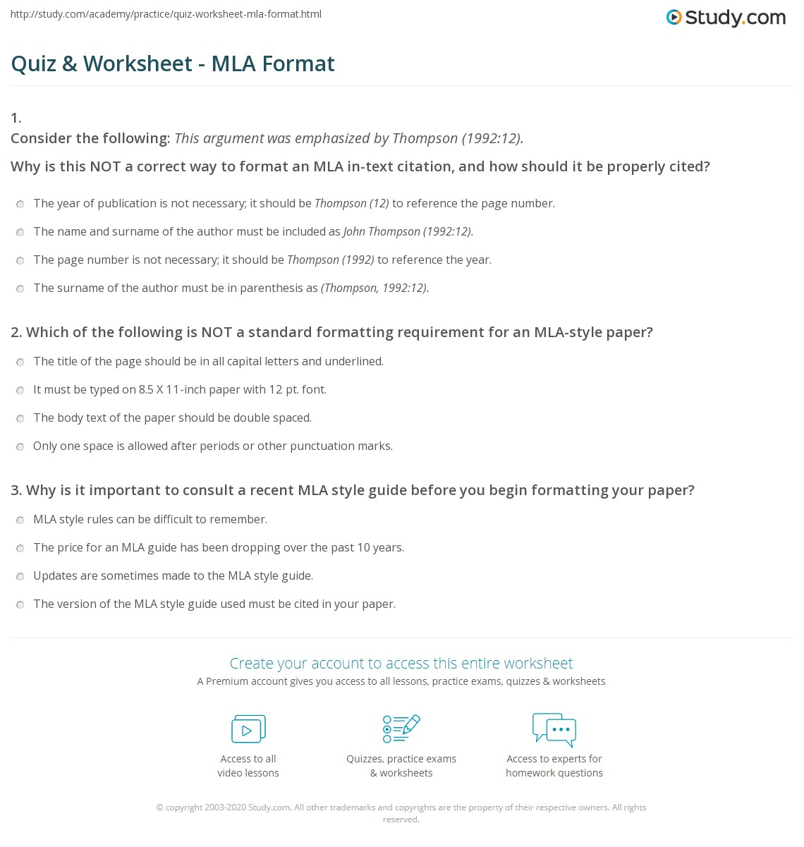 Quiz  Worksheet  Mla Format  Studycom Print What Is Mla Format Worksheet Help On Making A Business Plan also Sample Essay English  Essays For Kids In English