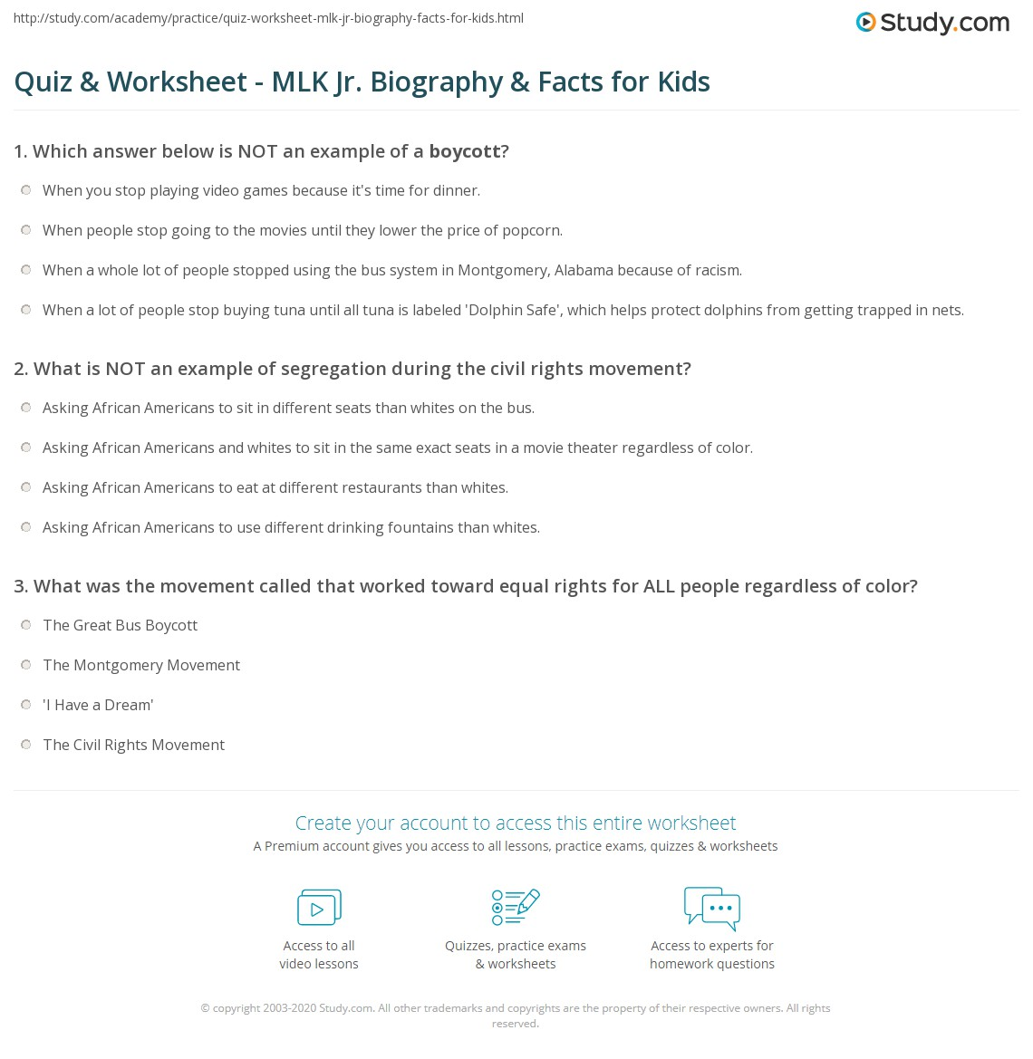 Quiz Worksheet Mlk Jr Biography Facts For Kids Study Com