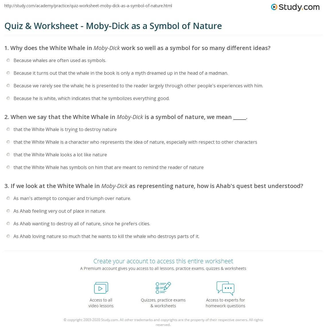 Quiz worksheet moby dick as a symbol of nature study print moby dick as a symbol of nature worksheet biocorpaavc Choice Image