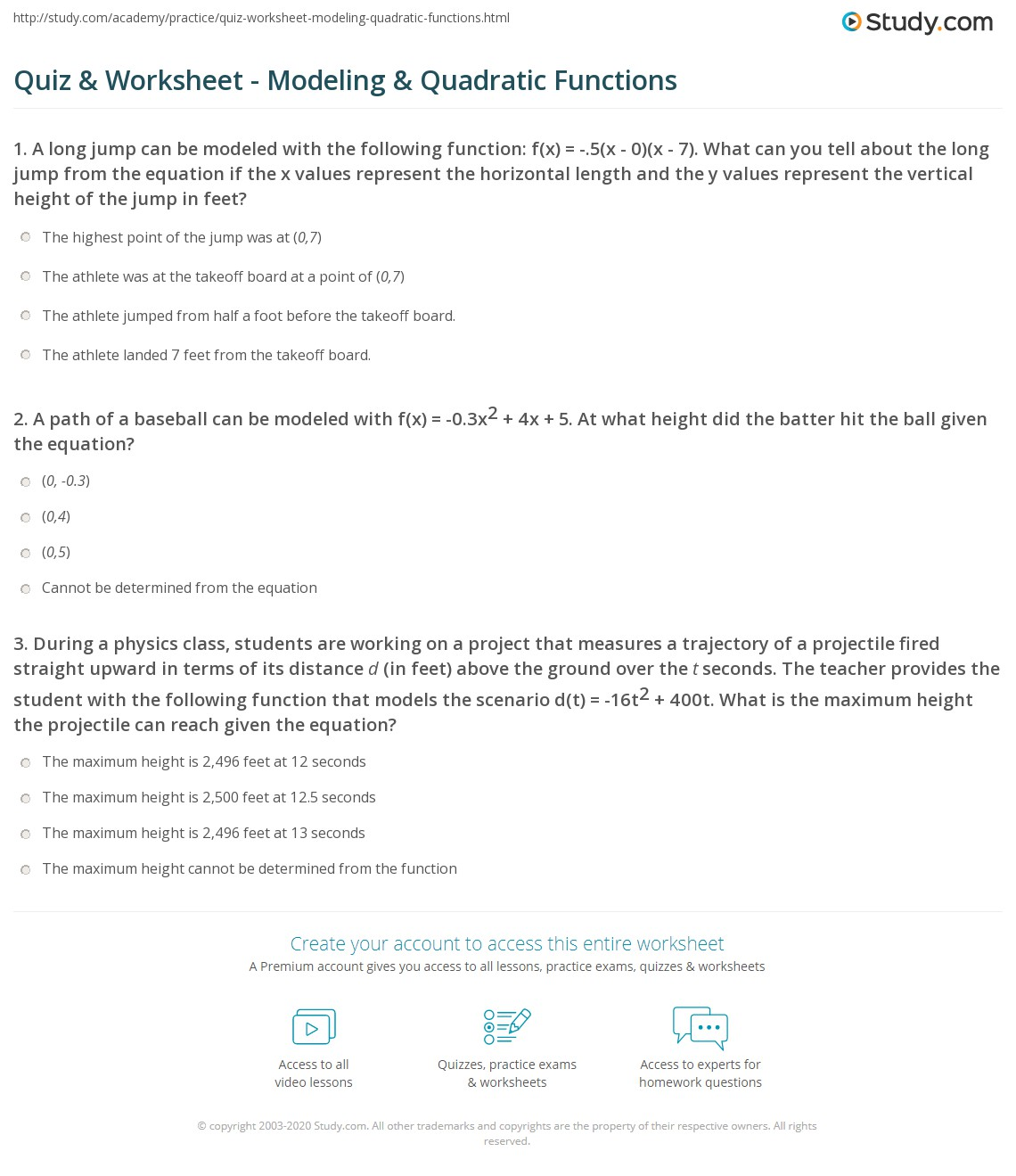 Quiz & Worksheet - Modeling & Quadratic Functions | Study com