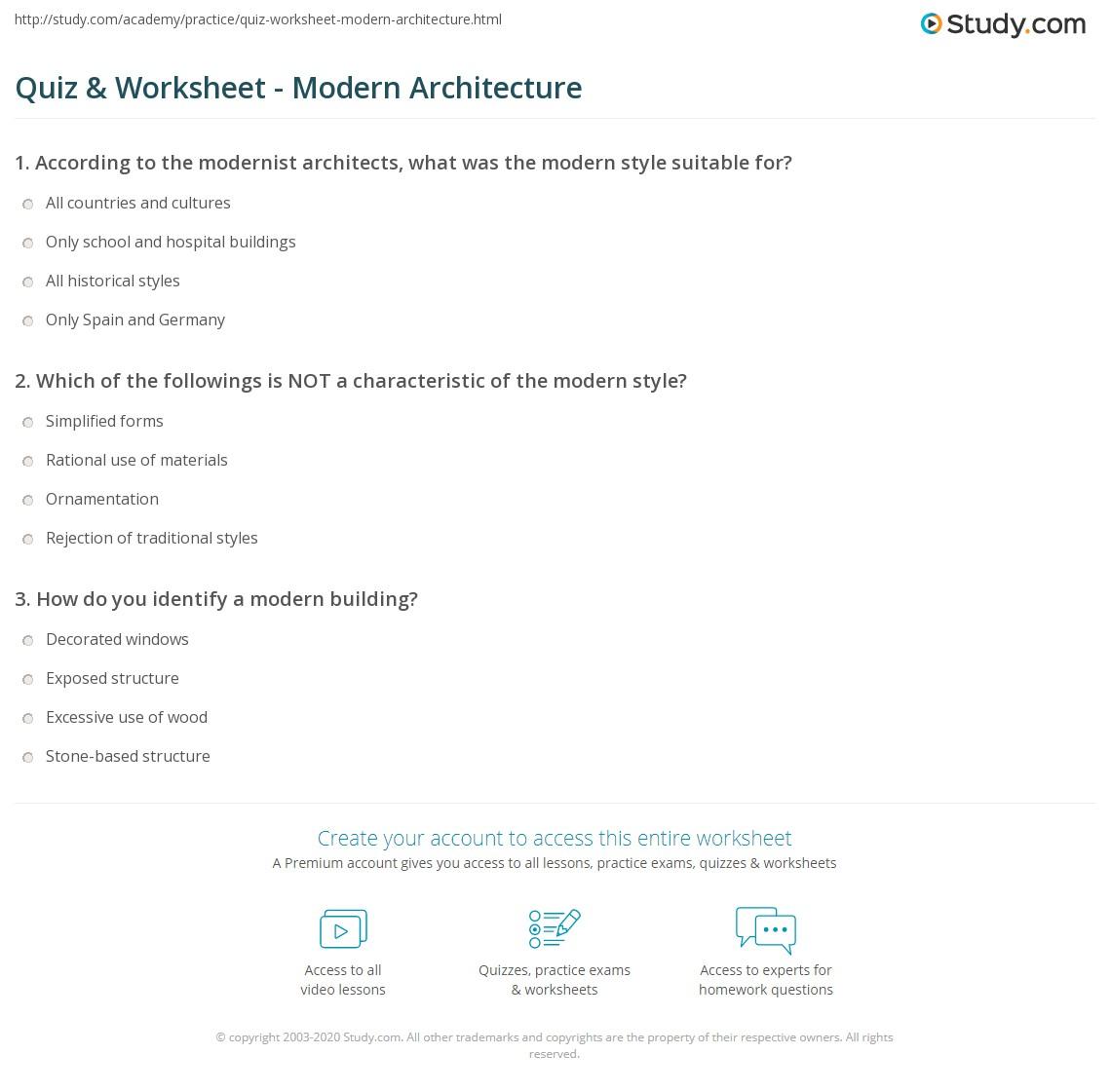 Quiz Worksheet Modern Architecture Study Com