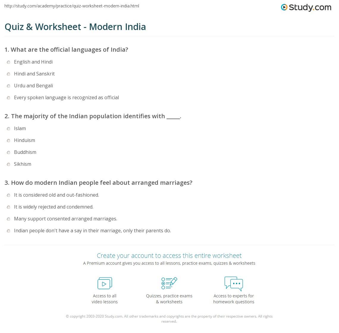 Quiz & Worksheet - Modern India | Study com