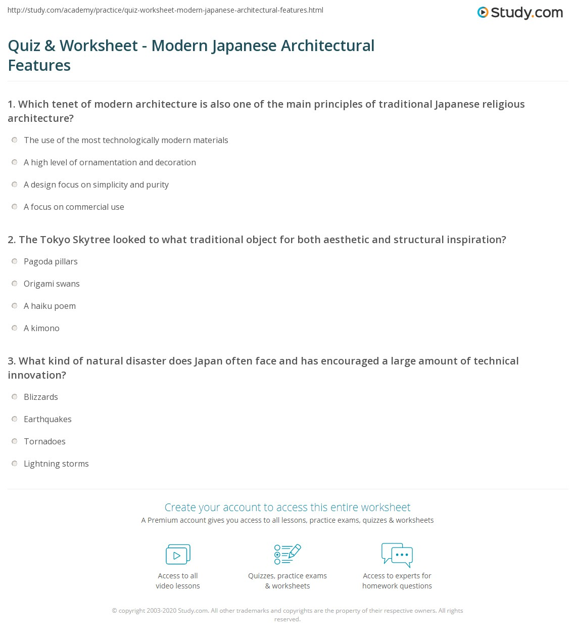 Quiz Worksheet Modern Japanese Architectural Features Study Com