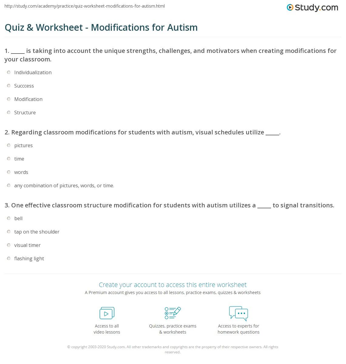 Quiz & Worksheet - Modifications for Autism | Study.com