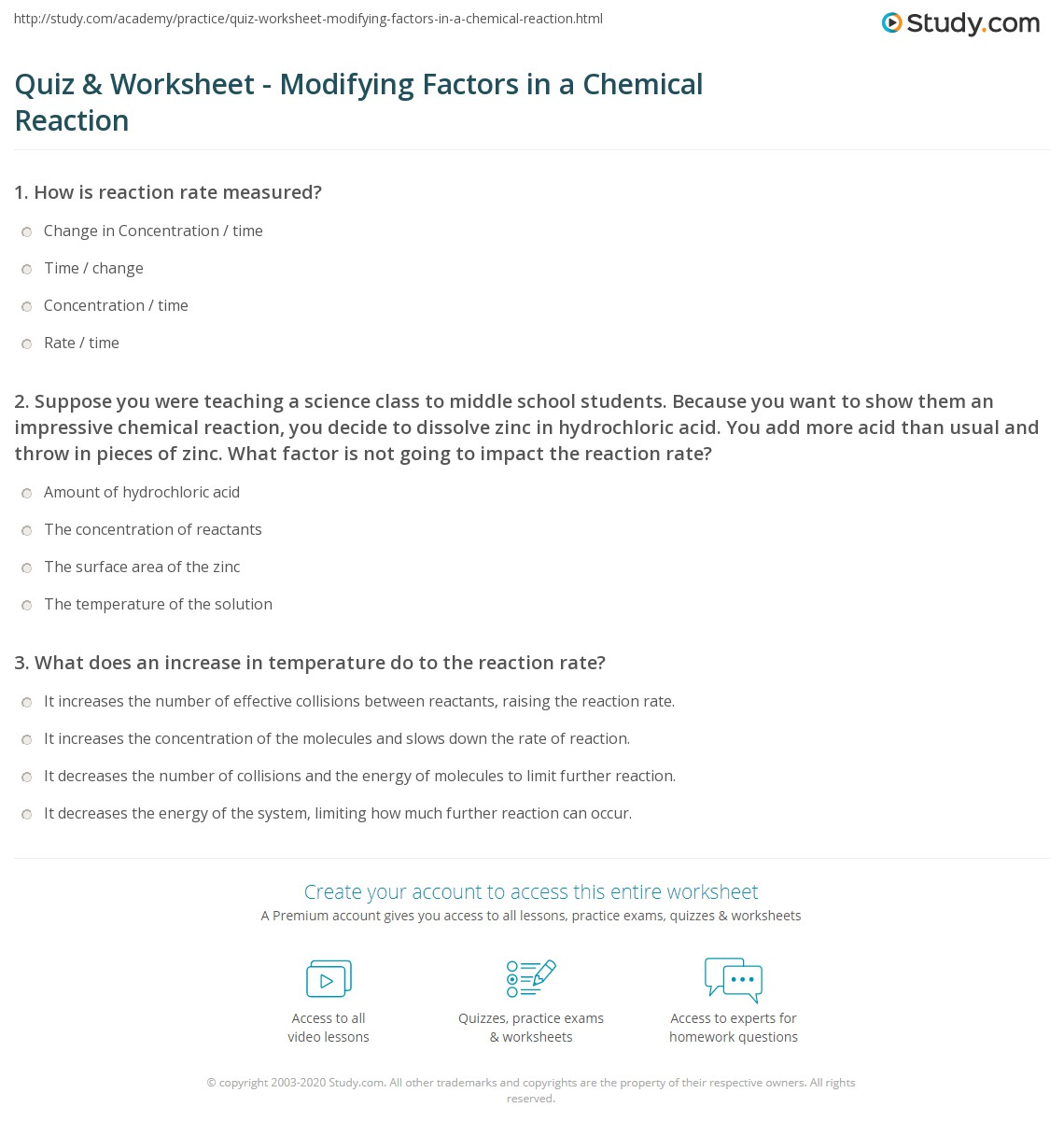 Quiz & Worksheet - Modifying Factors in a Chemical Reaction ...