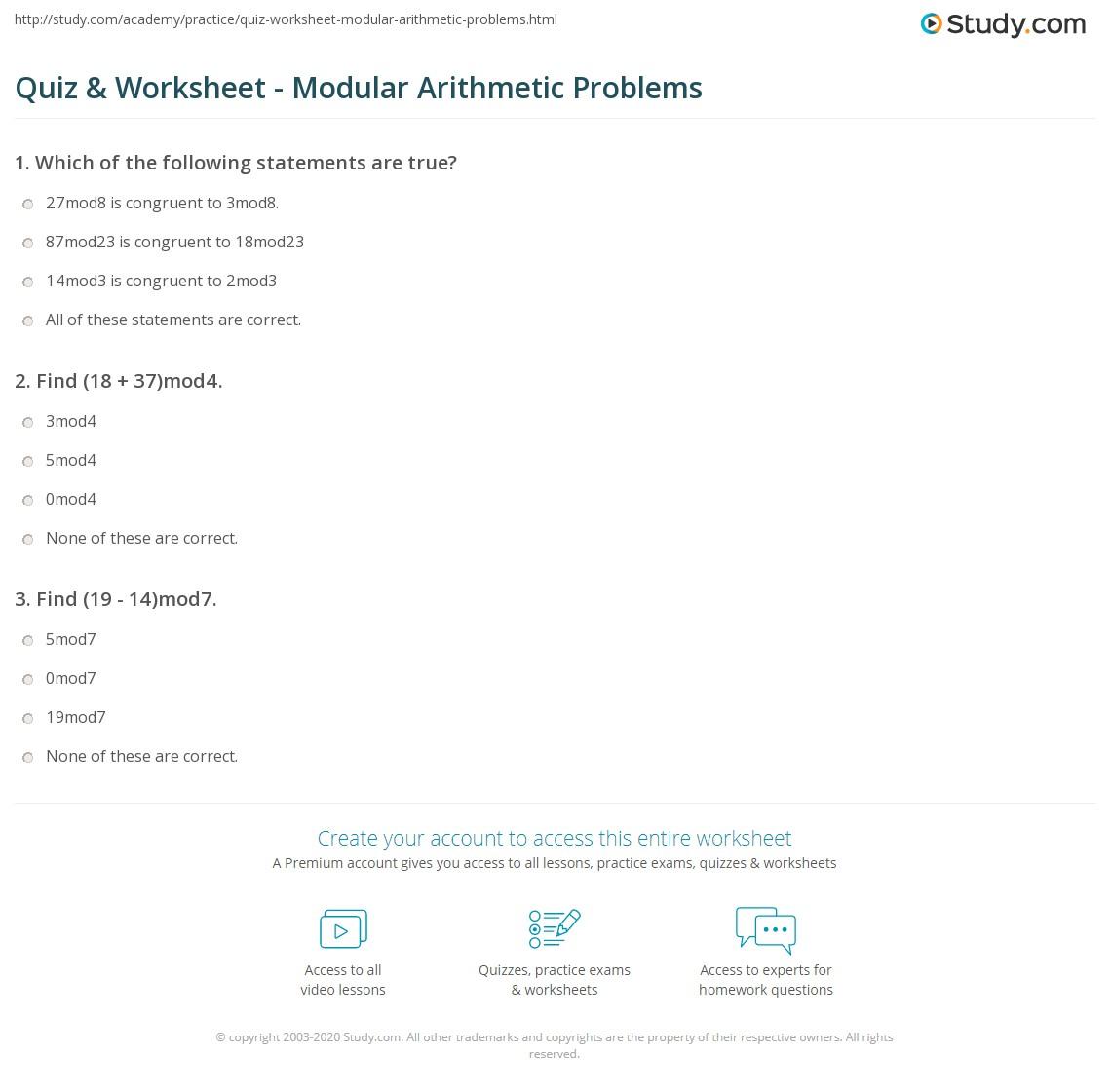 Quiz & Worksheet - Modular Arithmetic Problems   Study.com