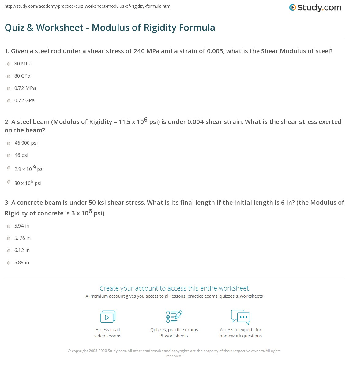 Quiz Worksheet Modulus of Rigidity Formula – Calculating Gpa Worksheet