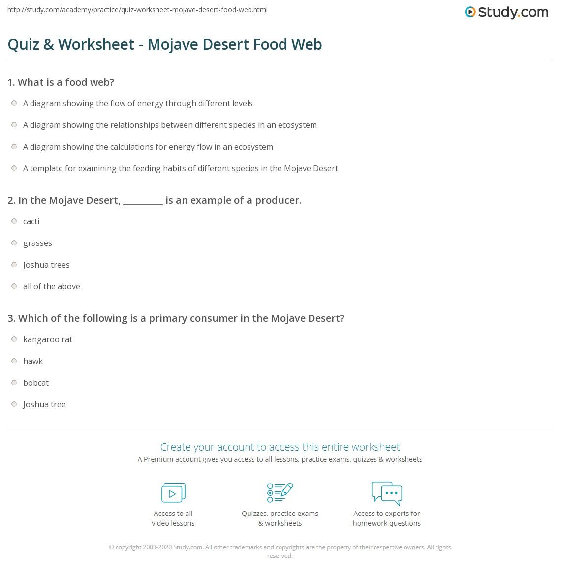 Worksheet Place Desert : Quiz worksheet mojave desert food web study