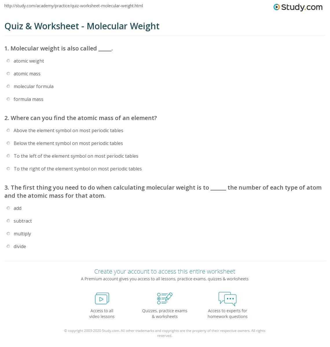 Quiz Worksheet Molecular Weight Study