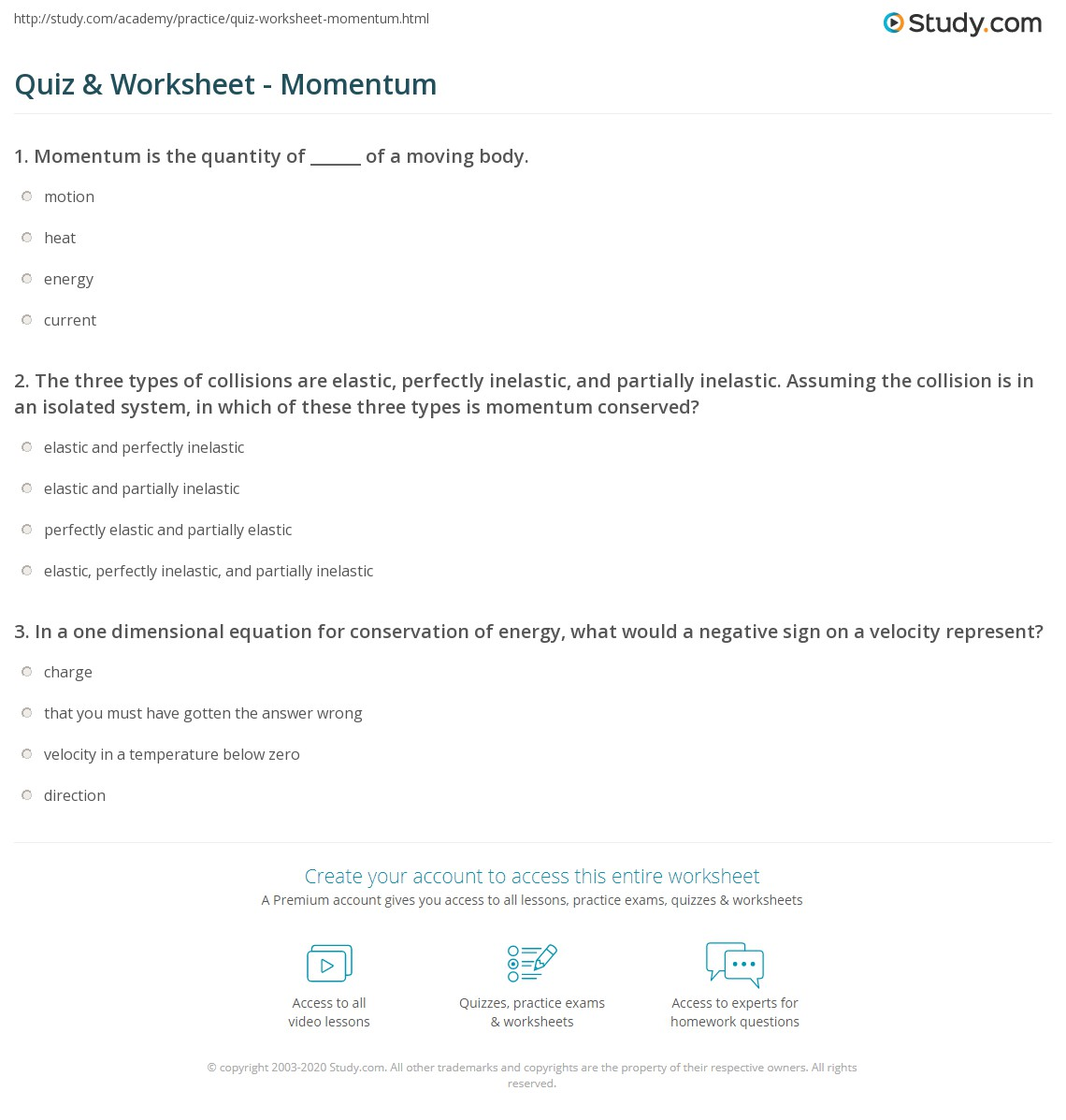 Quiz & Worksheet - Momentum | Study.com