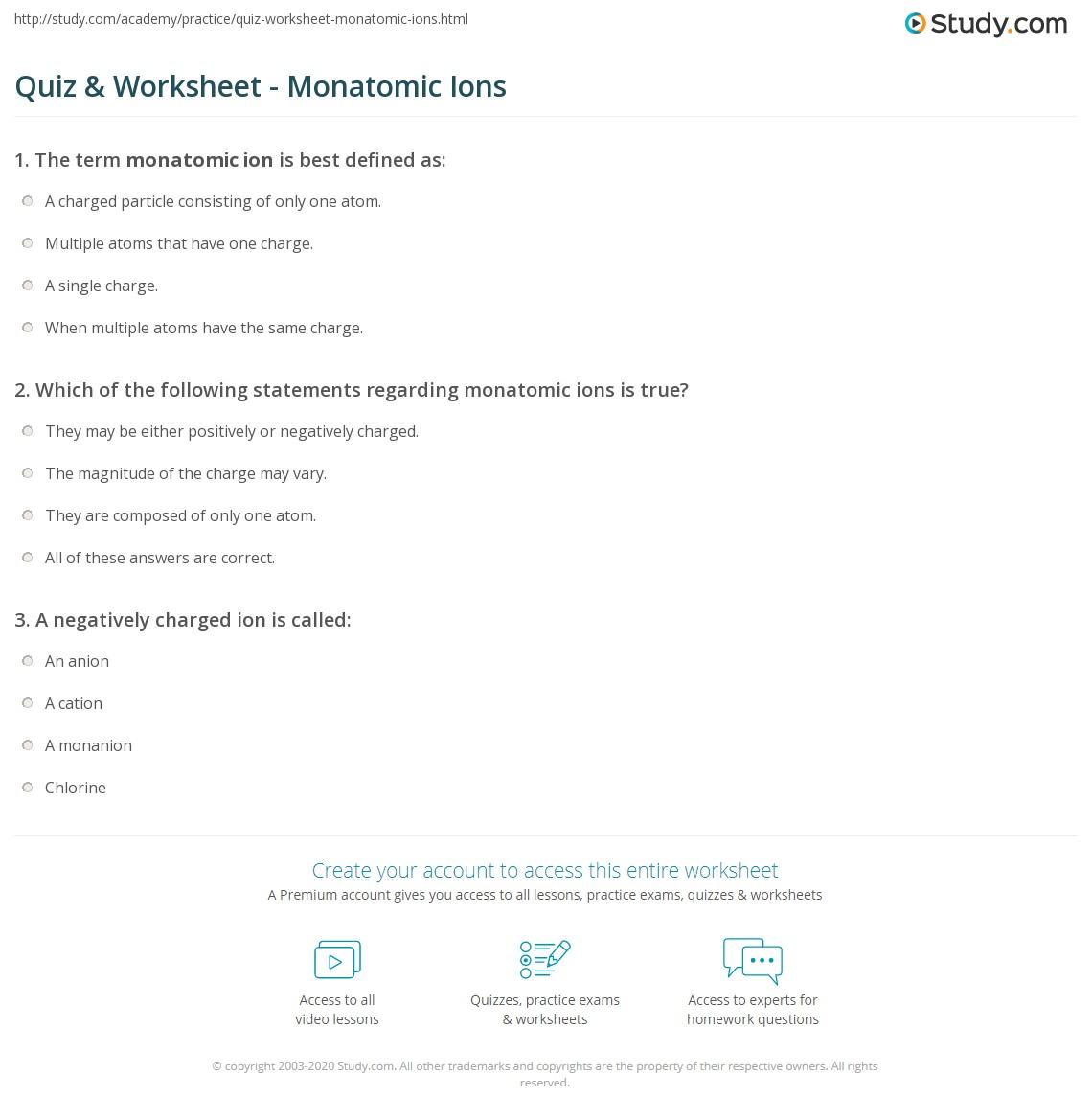 quiz worksheet monatomic ions. Black Bedroom Furniture Sets. Home Design Ideas