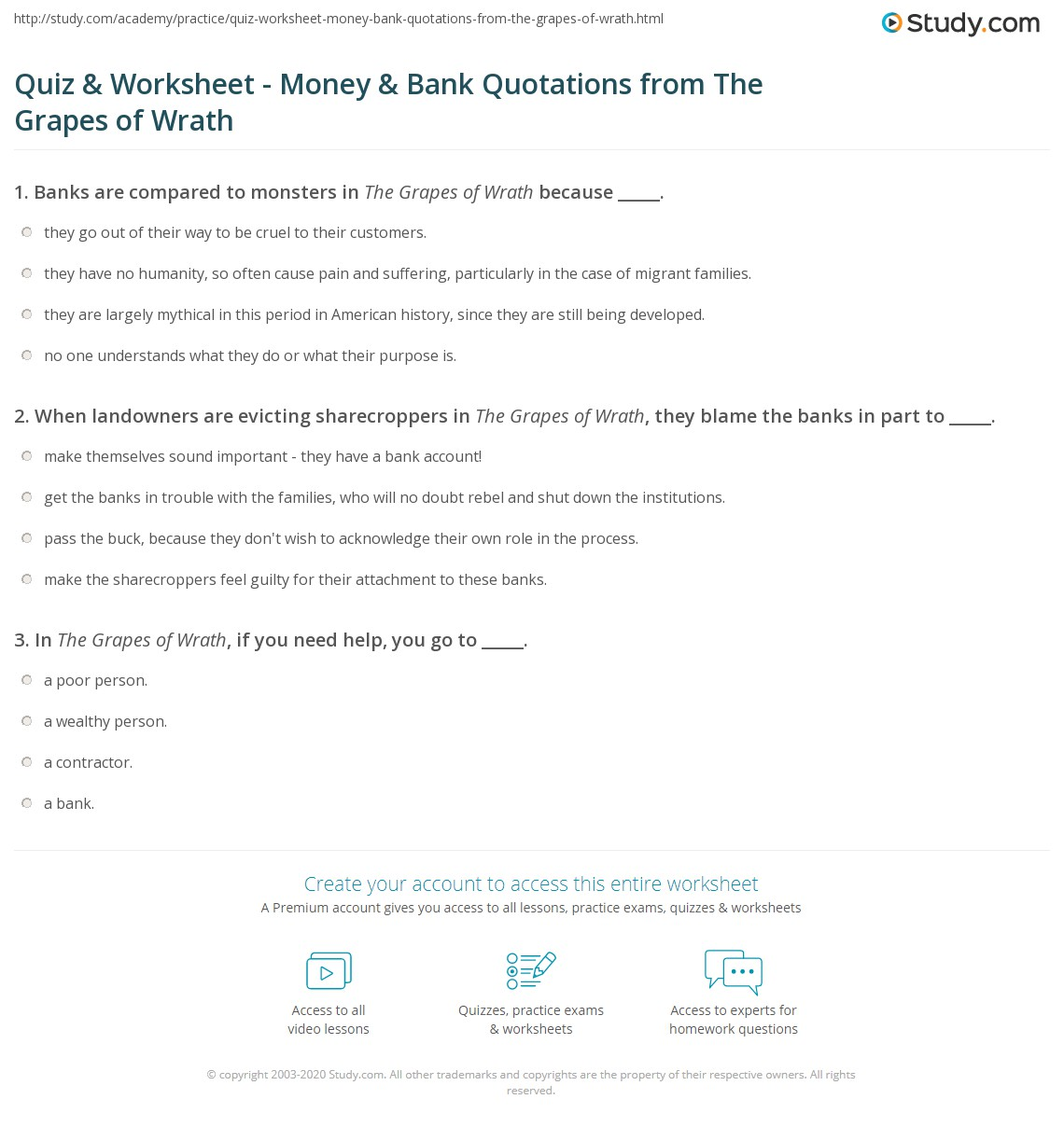 Quiz & Worksheet - Money & Bank Quotations from The Grapes of ...