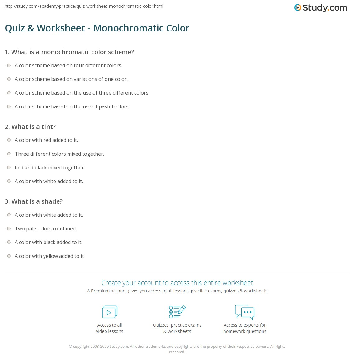 Monochromatic Color Scheme Definition quiz & worksheet - monochromatic color | study