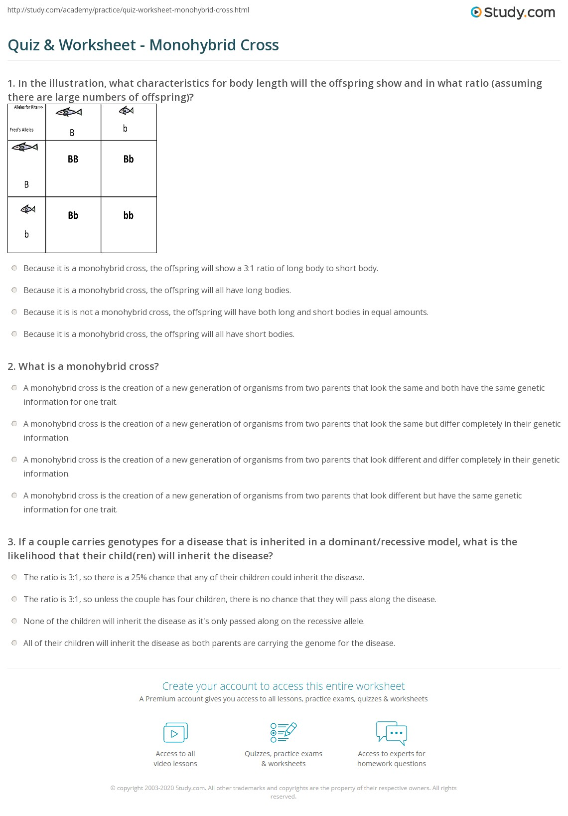 Quiz Worksheet Monohybrid Cross Study