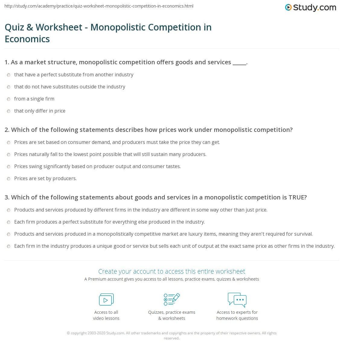 Quiz Worksheet Monopolistic Competition In Economics Study Com