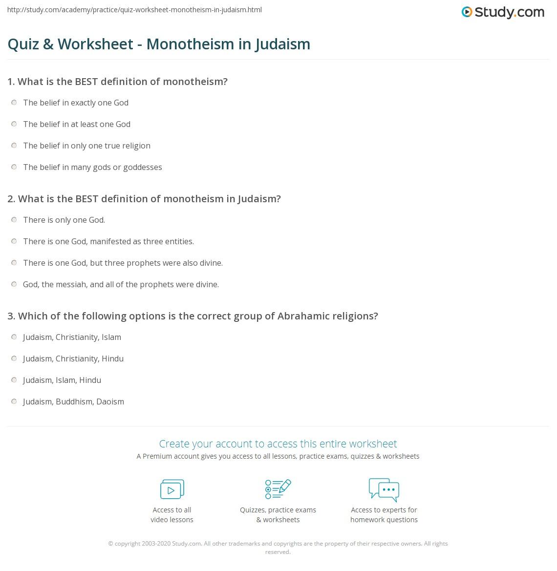 quiz & worksheet - monotheism in judaism | study