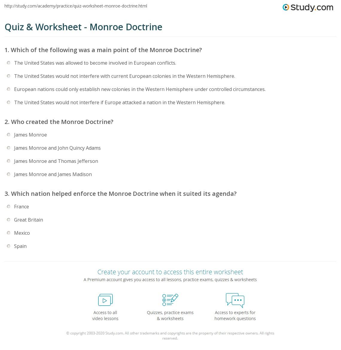 Worksheets Monroe Doctrine Worksheet quiz worksheet monroe doctrine study com print definition purpose summary worksheet