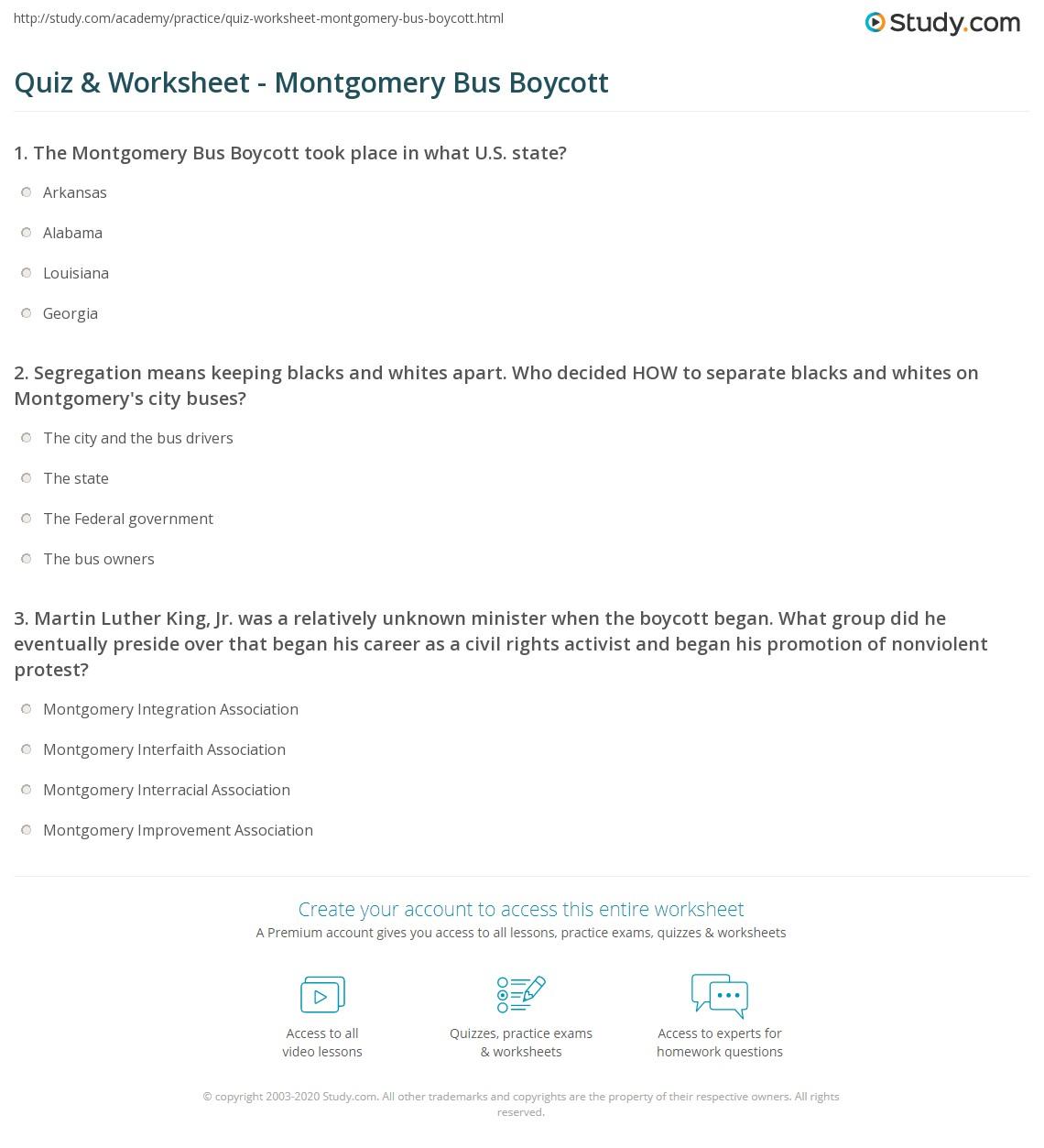 Quiz Worksheet Montgomery Bus Boycott Study Com