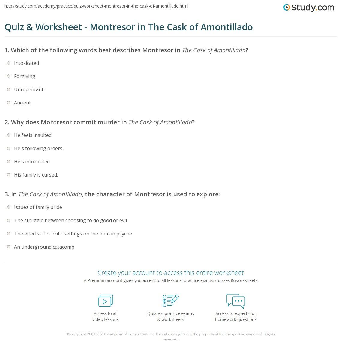 quiz worksheet montresor in the cask of amontillado. Black Bedroom Furniture Sets. Home Design Ideas