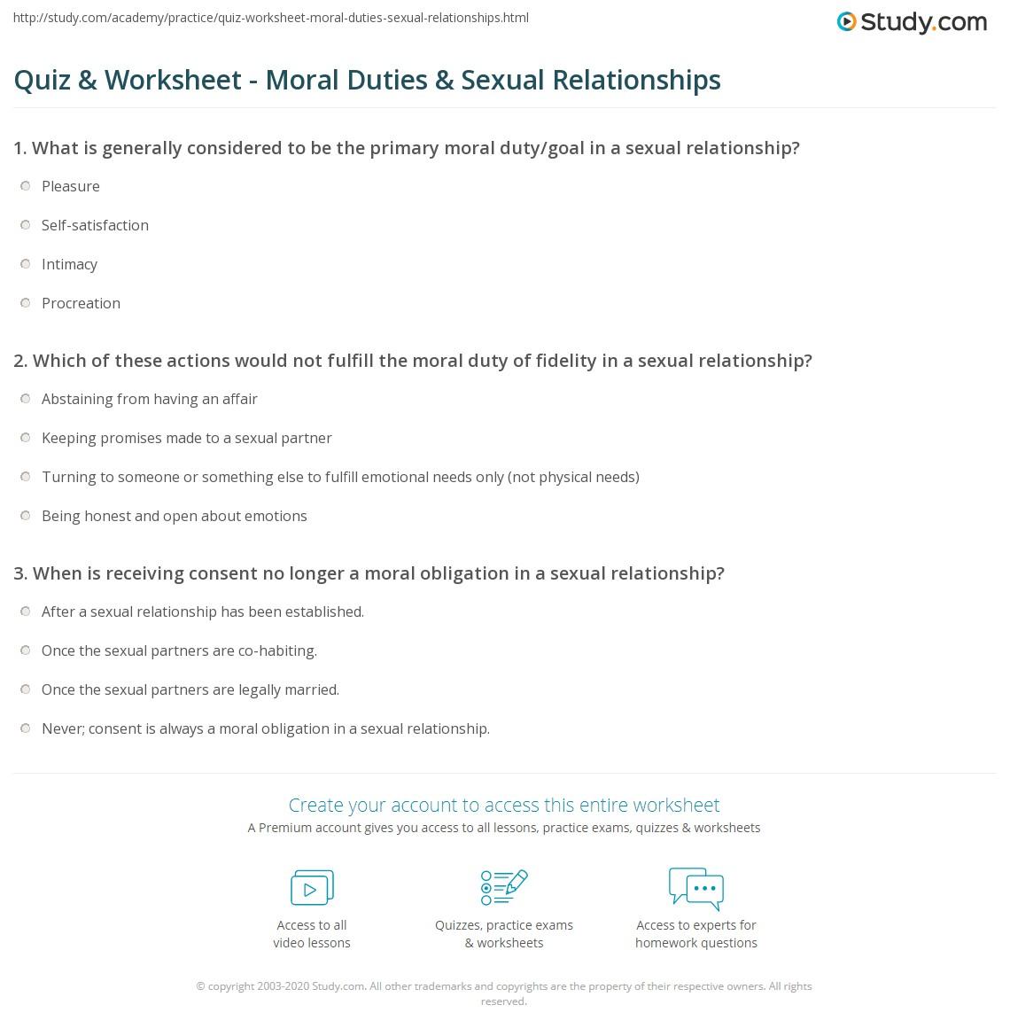 Sexual relationship quiz