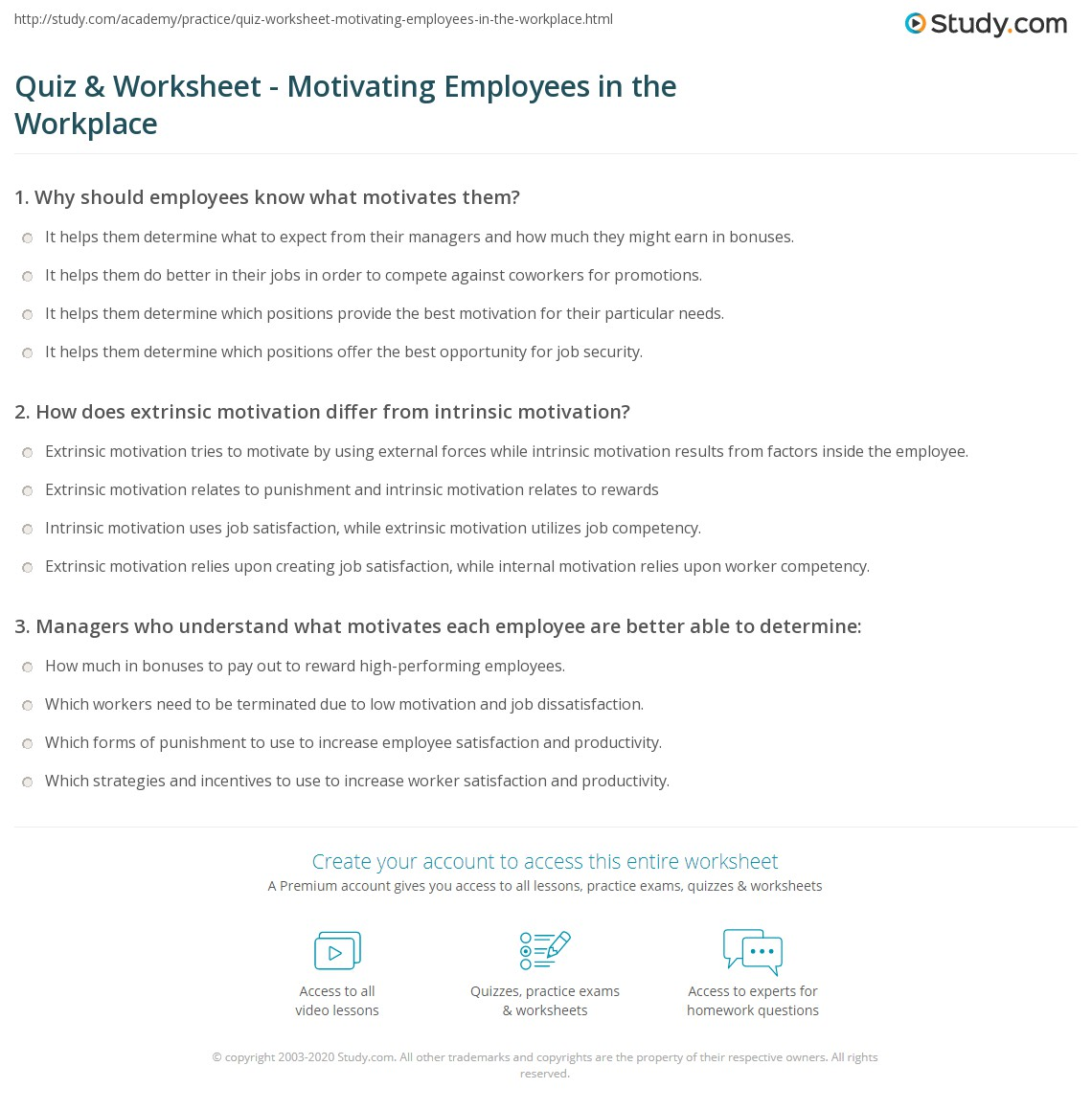 quiz worksheet motivating employees in the workplace com print motivating employees in the workplace methods importance worksheet