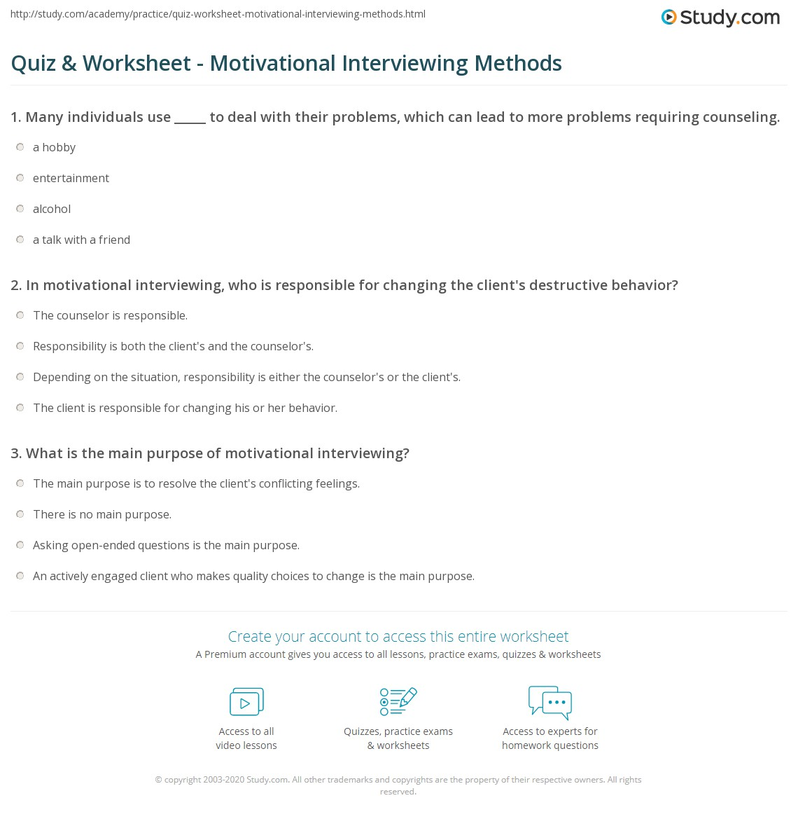 Quiz  Worksheet  Motivational Interviewing Methods  Study.com