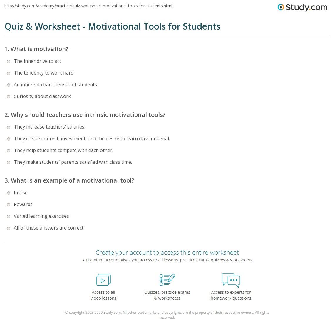 Quiz & Worksheet - Motivational Tools for Students   Study com