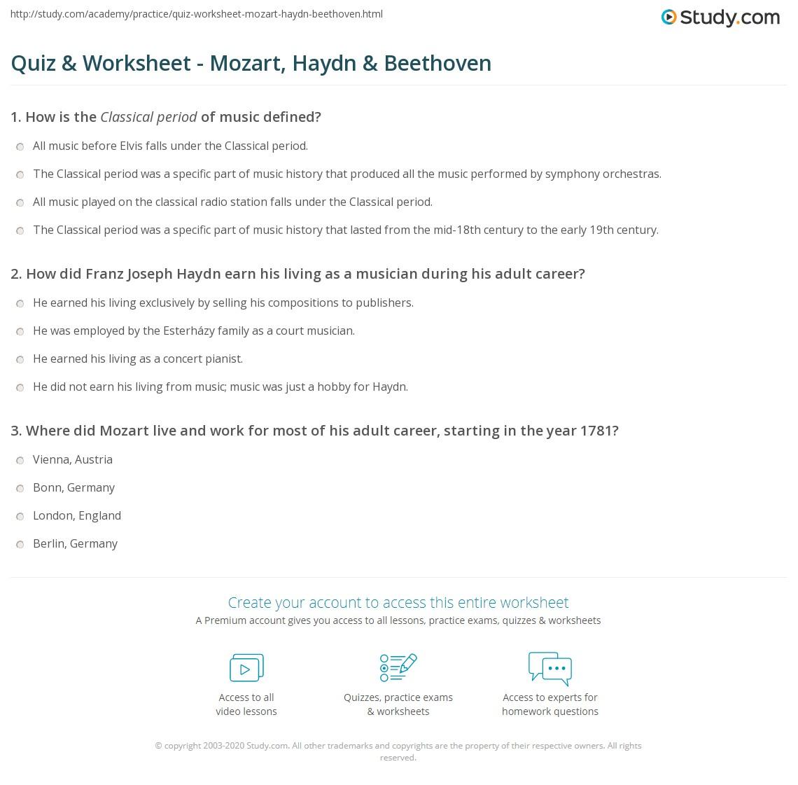 Quiz & Worksheet - Mozart, Haydn & Beethoven | Study.com