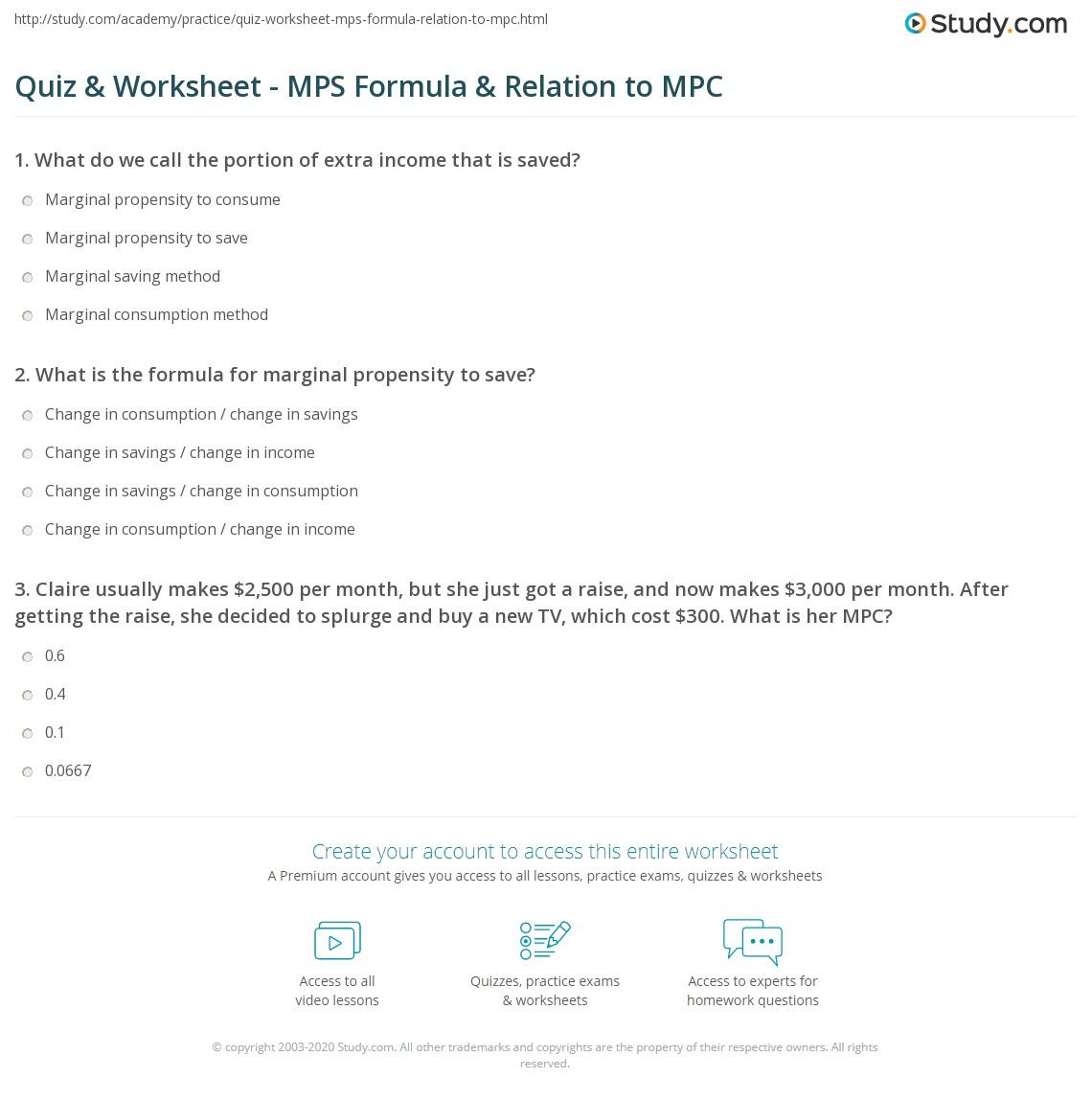 Quiz & Worksheet - MPS Formula & Relation to MPC | Study.com