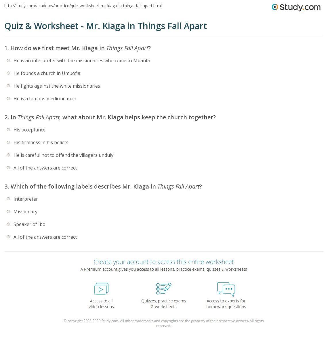 Quiz & Worksheet - Mr. Kiaga In Things Fall Apart