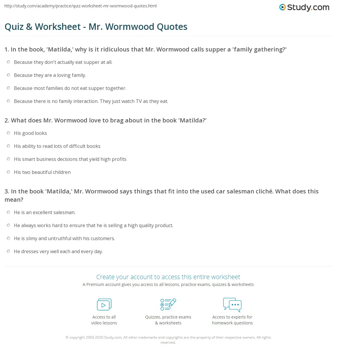 Quiz Worksheet Mr Wormwood Quotes Study Com